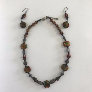 Jewelry - Glass Beaded Metal Stone Necklace Boho Earring Set